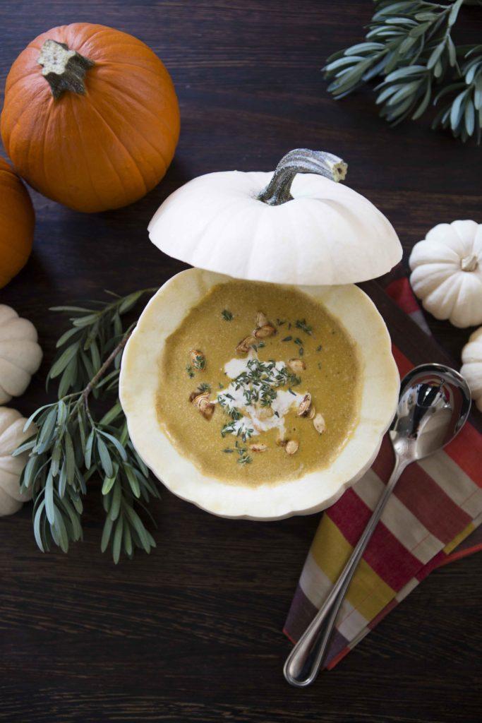 Pumpkin Soup in Mini Pumpkins